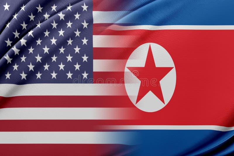 USA och Nordkorea royaltyfri illustrationer