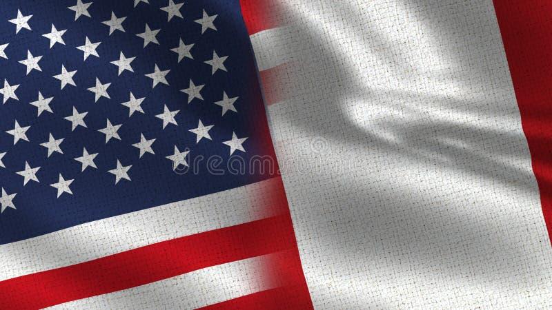 USA och Peru Realistic Half Flags Together royaltyfri bild