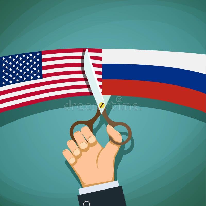 USA och ryska flaggor klipps med sax Konfrontation och t royaltyfri illustrationer