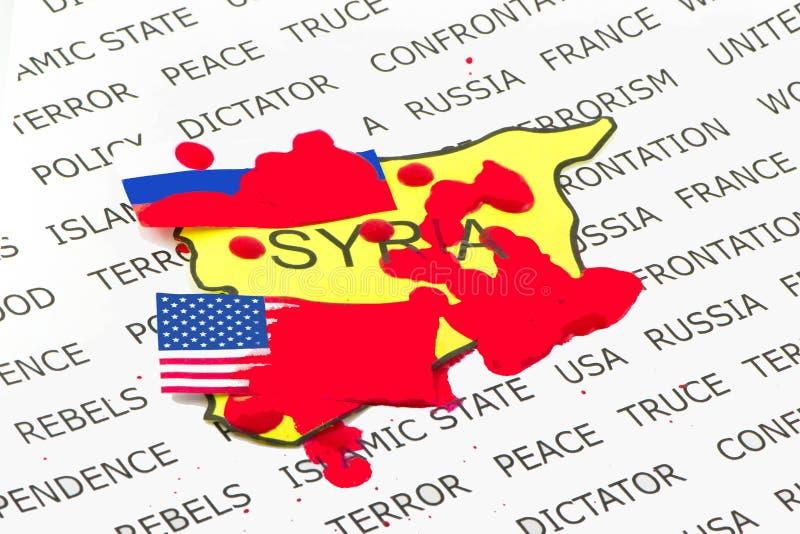 USA och Ryssland den blodiga konfrontationen royaltyfri foto