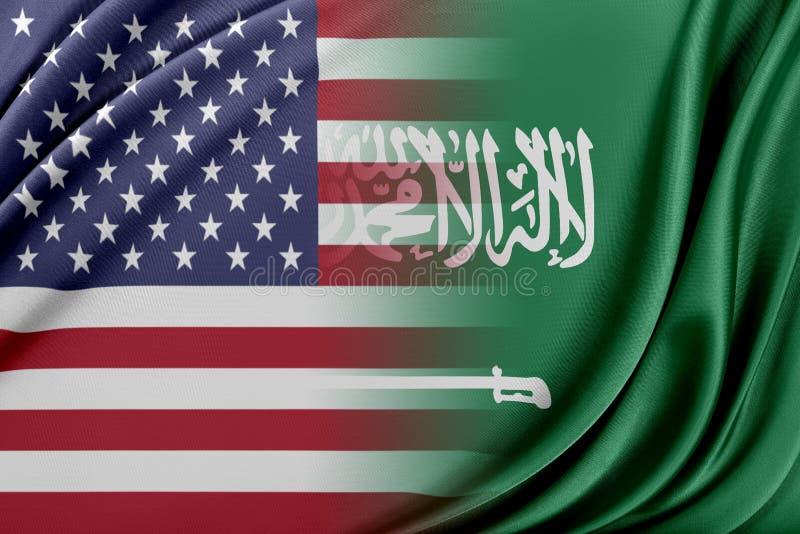 USA och Saudiarabien vektor illustrationer