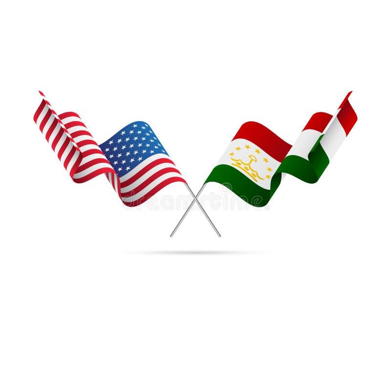 USA och Tadzjikistan flaggor också vektor för coreldrawillustration royaltyfri illustrationer