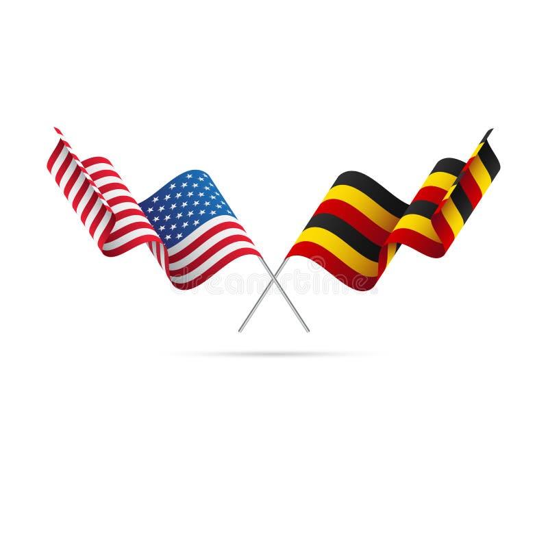 USA och Uganda flaggor också vektor för coreldrawillustration vektor illustrationer