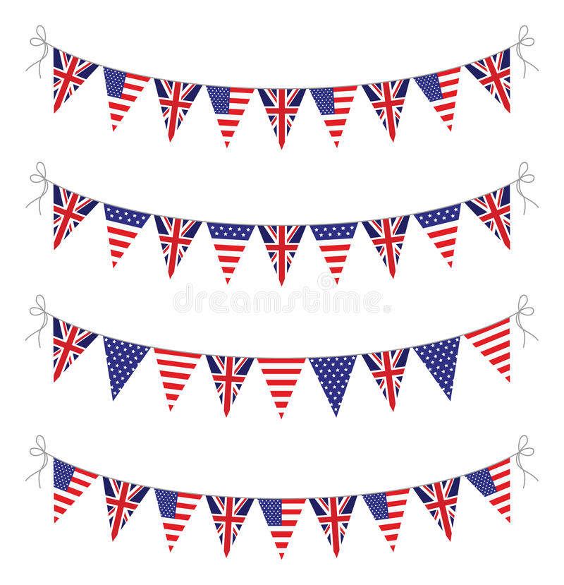 USA och UK-bunting stock illustrationer