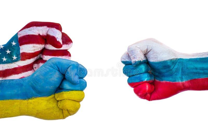 USA och Ukraina kontra Ryssland arkivfoto