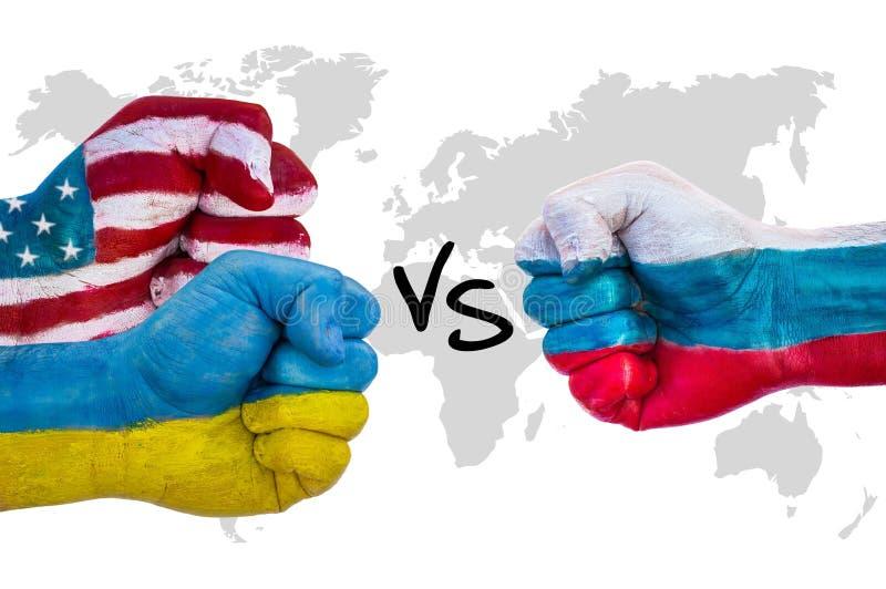 USA och Ukraina kontra Ryssland arkivbild