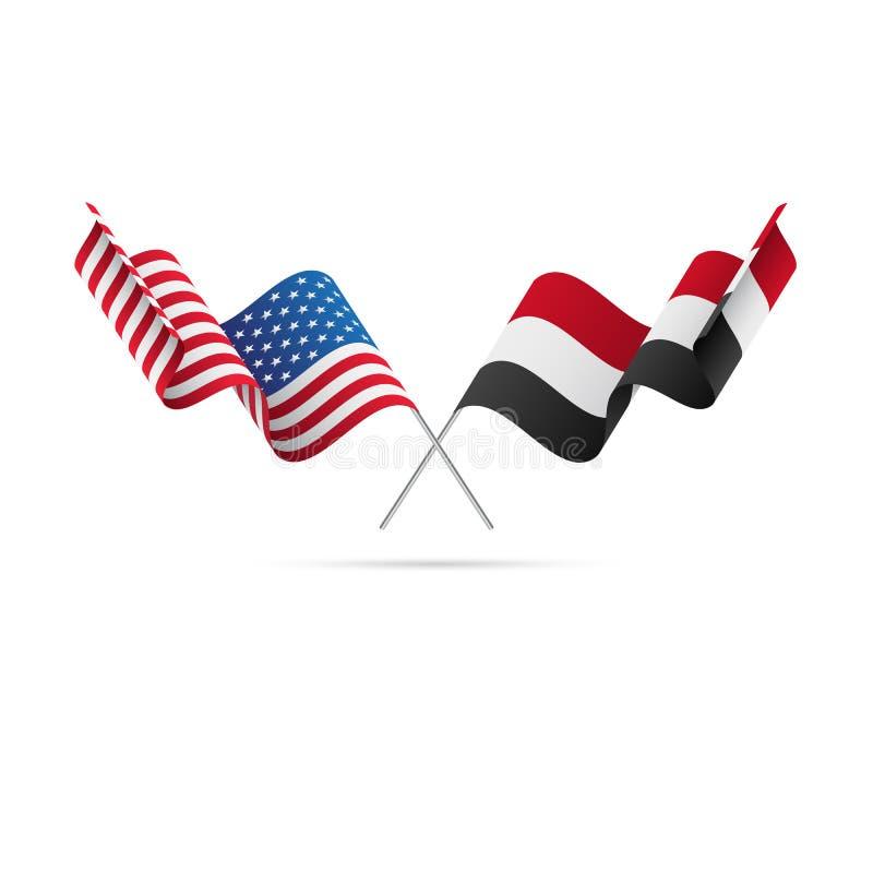 USA och Yemen flaggor också vektor för coreldrawillustration stock illustrationer