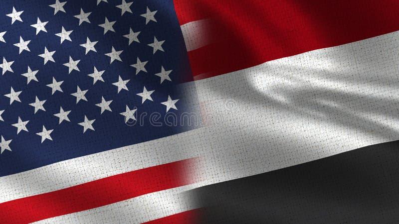 USA och Yemen realistiska halvaflaggor tillsammans royaltyfria bilder
