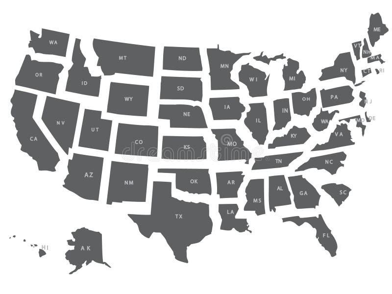 USA oder die Vereinigten Staaten bilden im Grau ab lizenzfreie abbildung