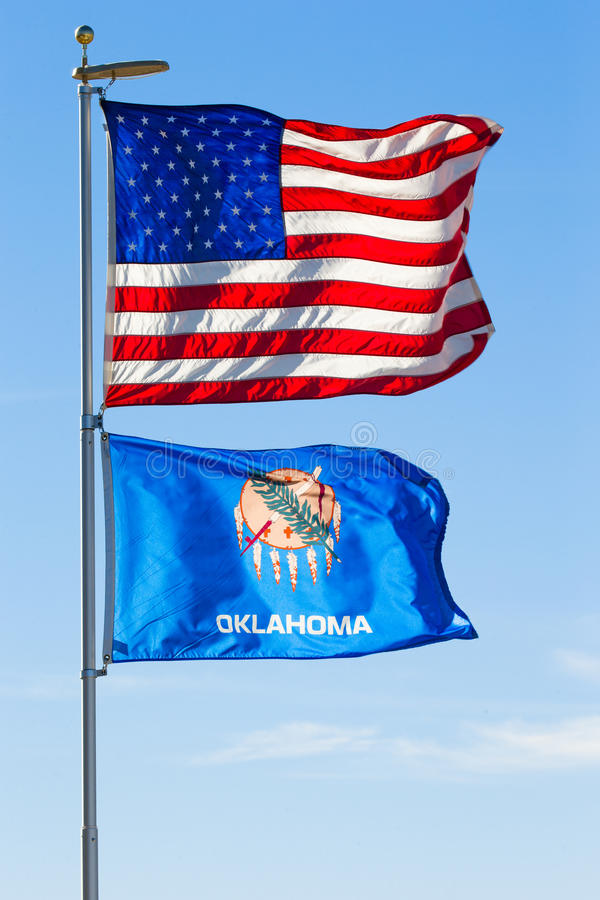USA and Oklahoma Flags stock photo