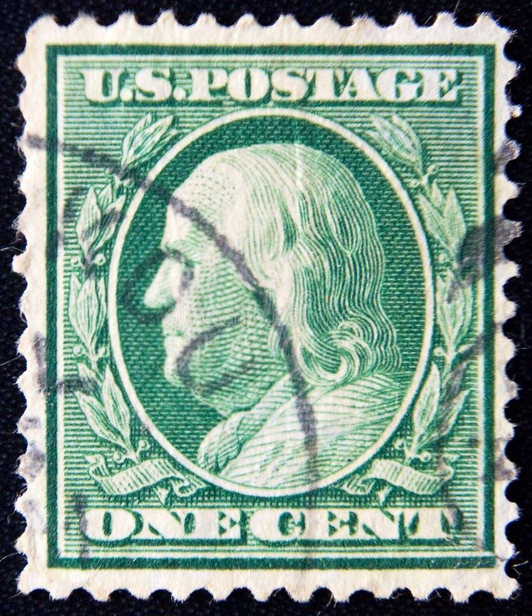 USA około jeden centu b Franklin 1922 zdjęcie stock