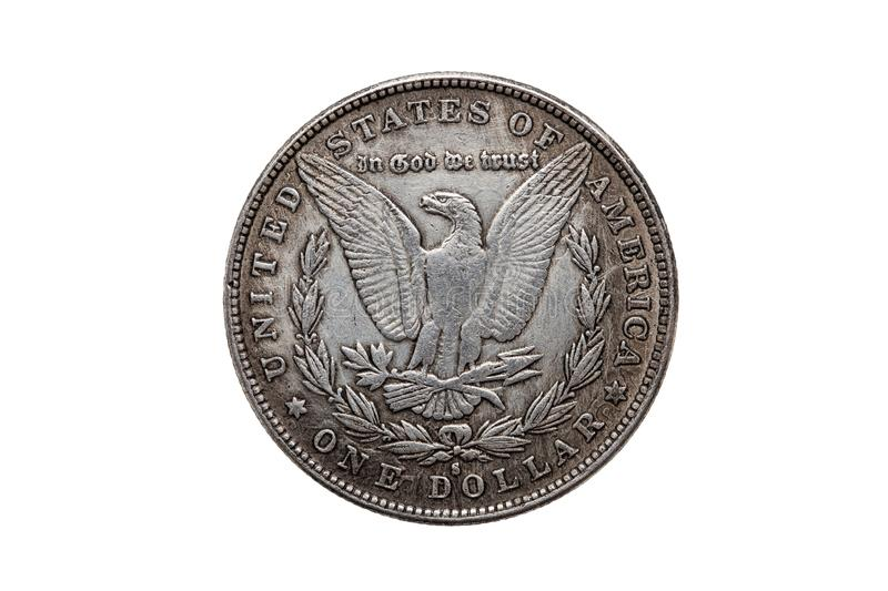 USA One Dollar Morgan Silver Coin reverse side. USA One Dollar Morgan Silver Coin replica dated 1880 with an image of a spread eagle on the reverse cut out and stock image