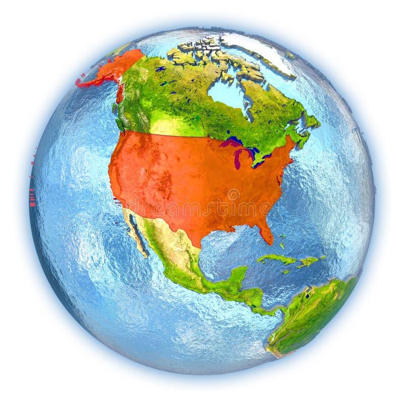 USA på det isolerade jordklotet vektor illustrationer