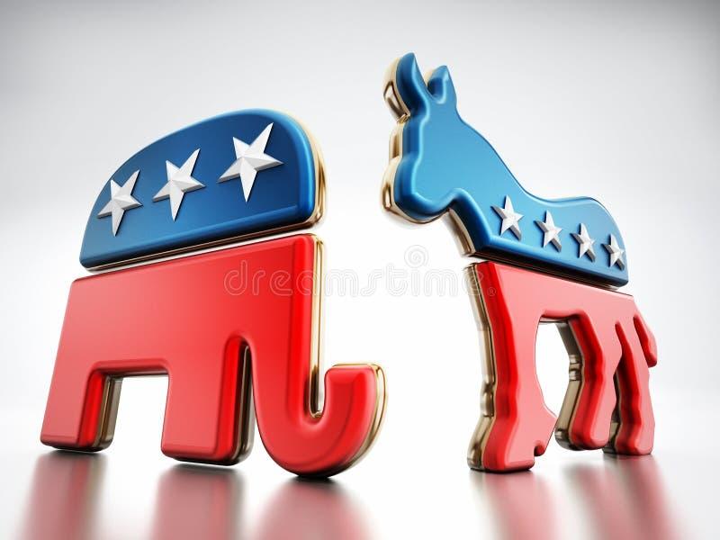 USA partii politycznej symbole ilustracji