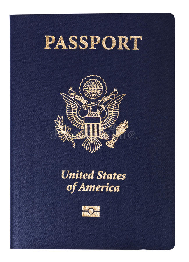Isolated American Passport. A USA passport Isolated on white background. This is the new version of the passport, with the biometric chip (the old version of the stock images