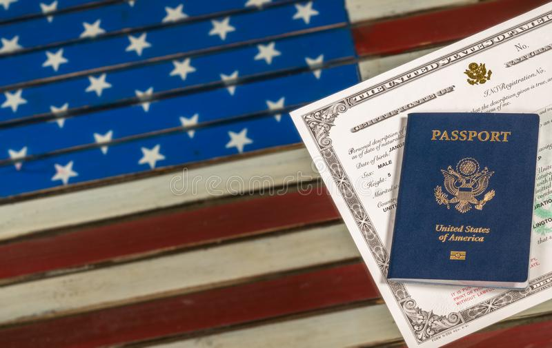 USA Passport And Naturalization Certificate Over US Flag Stock Photo ...