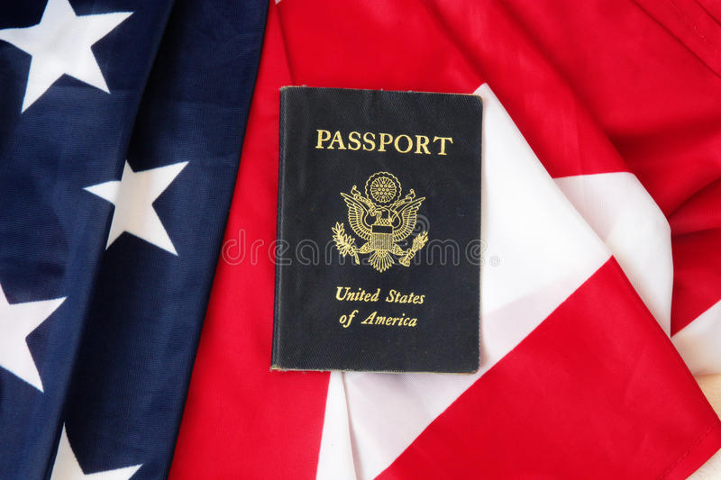 USA passport on The US flag. Background stock photography