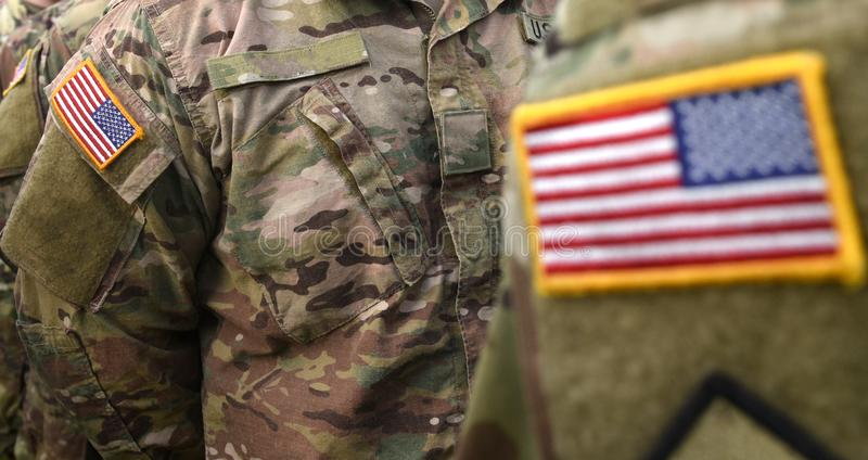 USA patch flag on US soldiers arm stock images