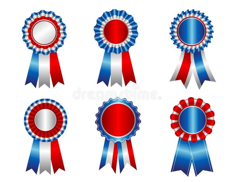 USA patriotic award ribbon rosette royalty free illustration