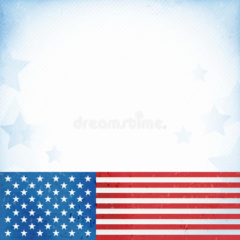 USA patriotic background. US American flag themed background, or card with flag at the bottom forming a patriotic border on a distressed, worn background with stock illustration