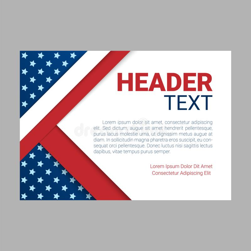 USA patriotic background. Vector illustration with text, stripes and stars for posters, flyers, decoration in colors of. American flag. Colorful template for vector illustration