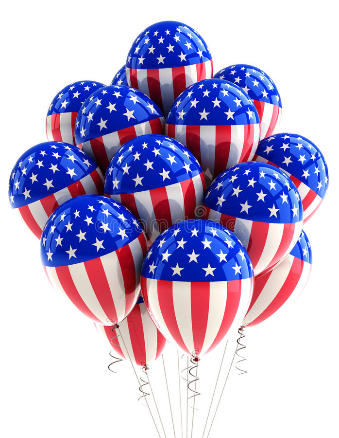 USA patriotic balloons. Patriotic US balloons with American flag design over white royalty free illustration