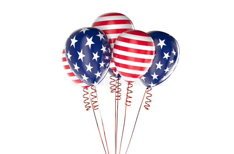 USA patriotic balloons, federal holyday. Concept stock illustration