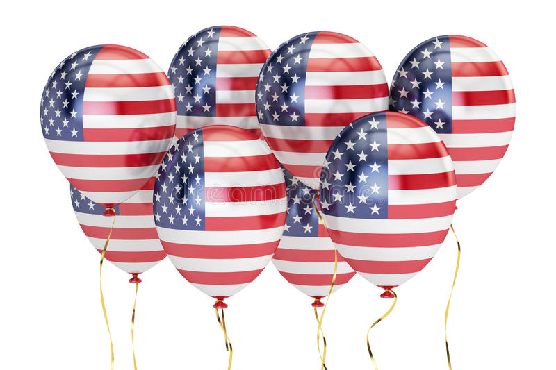 USA patriotic balloons with flag of US, federal concept. 3D rendering isolated on white background stock illustration