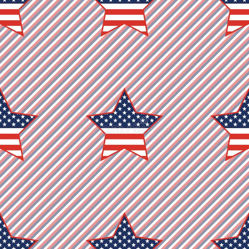 USA patriotic stars seamless pattern on red and. USA patriotic stars seamless pattern on red and blue stripes background. American patriotic wallpaper. Tillable royalty free illustration
