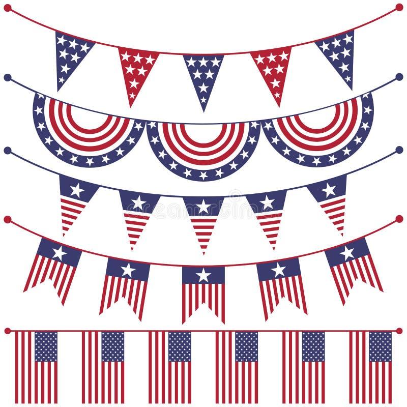 USA patriotiska buntings stock illustrationer