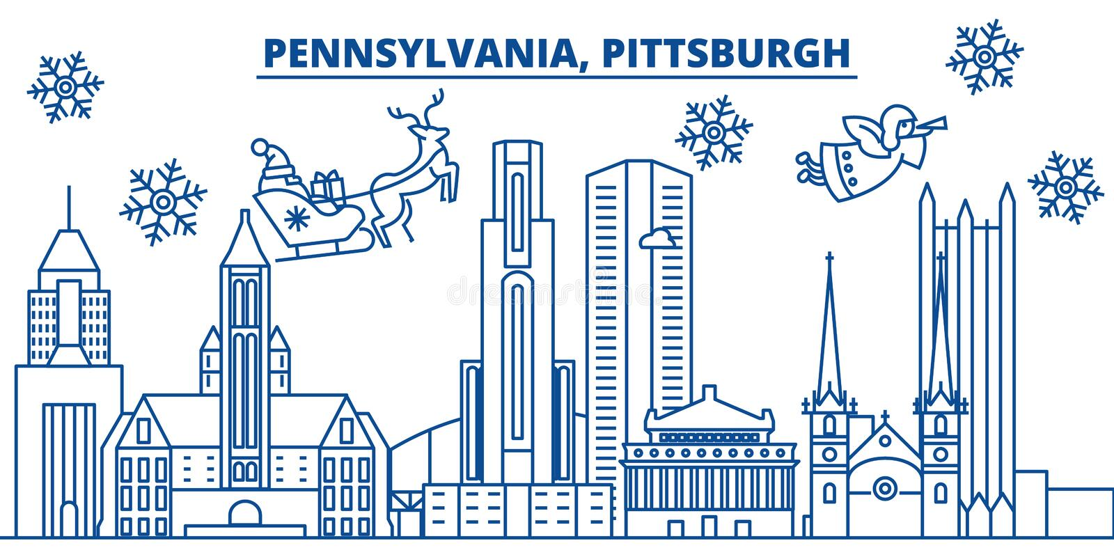 USA, Pennsylvania , Pittsburgh winter city skyline. Merry Christmas and Happy New Year decorated banner.Winter greeting vector illustration