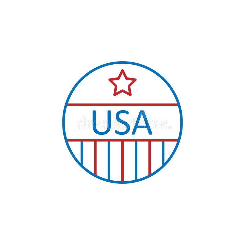 USA, pin icon. Element of USA culture icon. Thin line icon for website design and development, app development. Premium icon. On white background royalty free illustration