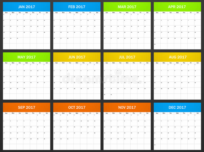 USA Planner blank for 2017. Scheduler, agenda or diary template. Week starts on Sunday. Vector illustration royalty free illustration
