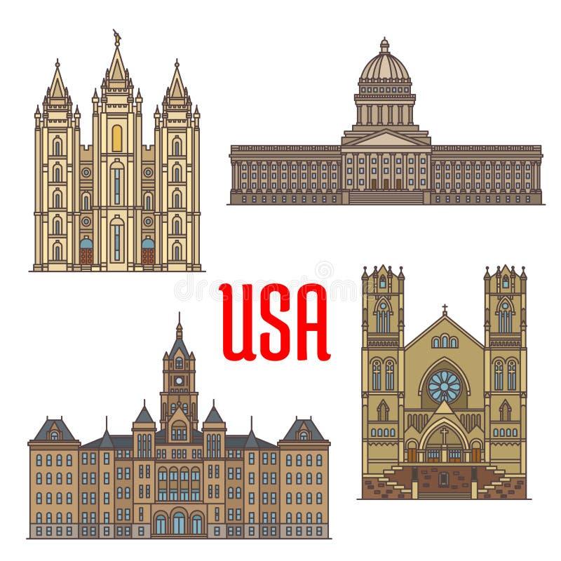 USA podróży punktów zwrotnych ikona Utah architektura royalty ilustracja