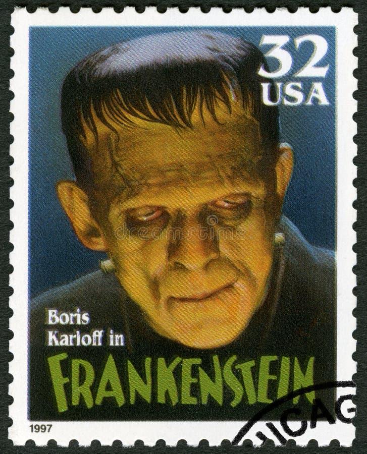 USA - 1997: pokazuje portretowi William Henry Pratt Boris Karloff 1887-1969 jako Frankenstein potwór, seria filmu Klasyczni potwo zdjęcie stock