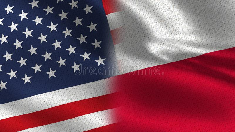 Usa and Poland Realistic Half Flags Together. High Details for business royalty free stock photos