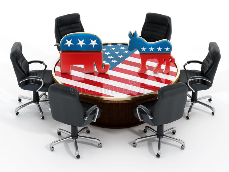 Download USA Political Party Symbols Standing On American Flag Covered  Table Editorial Image   Image:
