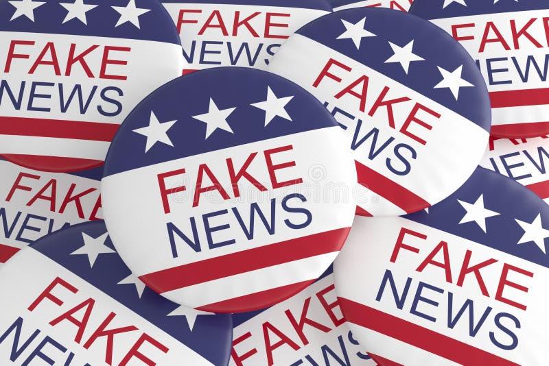 USA Politics Media Buttons: Pile of US Flag Fake News Badges 3d illustration. USA Politics Media Buttons: Pile of US Flag Fake News Badges, 3d illustration royalty free illustration