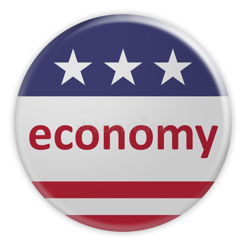 USA News Badge: Economy Button With US Flag, 3d illustration. USA Politics News Badge: Economy Button With US Flag, 3d illustration vector illustration