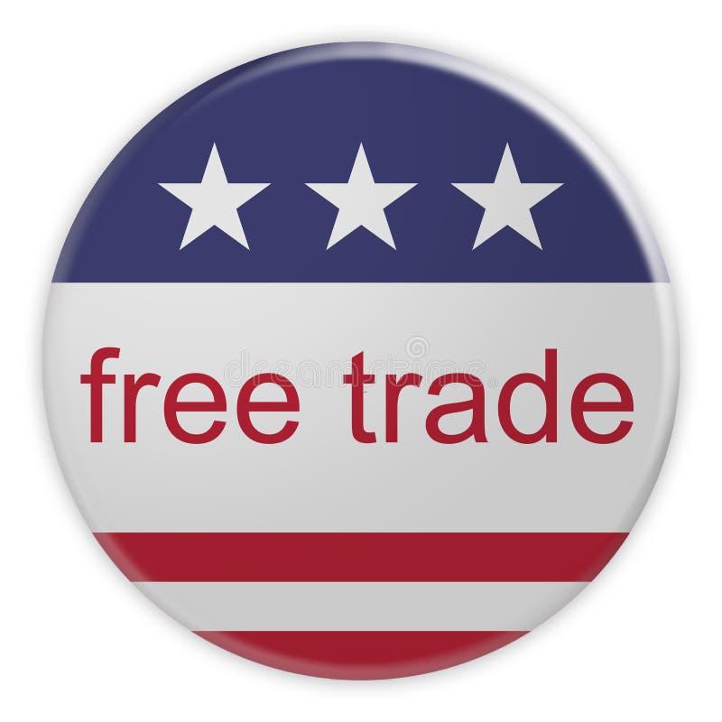 USA Politics News Badge: Free Trade Button With US Flag 3d illustration. USA Politics News Badge: Free Trade Button With US Flag, 3d illustration vector illustration