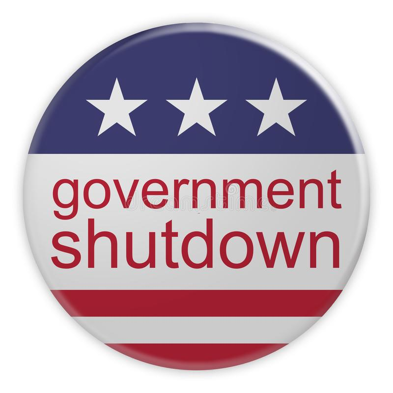 USA Politics News Badge: Government Shutdown Button With US Flag 3d illustration. USA Politics News Badge: Government Shutdown Button With US Flag, 3d royalty free illustration