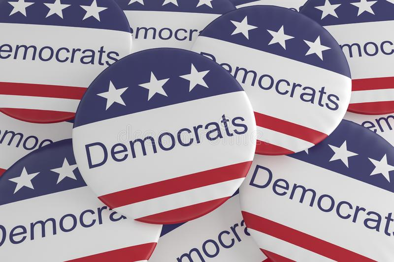 Pile of Democrats Buttons With US Flag, 3d illustration. USA Politics News Badge: Pile of Democrats Buttons With US Flag, 3d illustration royalty free illustration