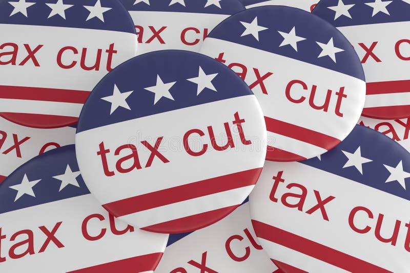 USA Politics News Badge: Pile of Tax Cut Buttons With US Flag 3d illustration. USA Politics News Badge: Pile of Tax Cut Buttons With US Flag, 3d illustration vector illustration