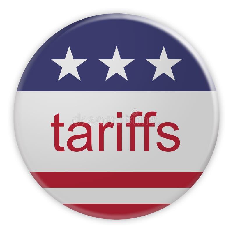 USA Politics News Badge: Tariffs Button With US Flag 3d illustration. USA Politics News Badge: Tariffs Button With US Flag, 3d illustration vector illustration