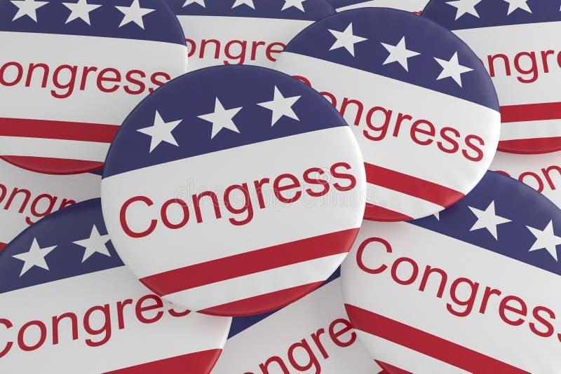 USA Politics News Badges: Pile of Congress Buttons With US Flag 3d illustration. USA Politics News Badges: Pile of Congress Buttons With US Flag, 3d illustration royalty free illustration
