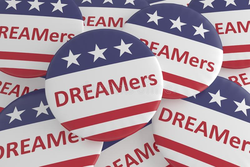 USA Politics News Badges: Pile of DREAMers Buttons With US Flag. 3d illustration vector illustration