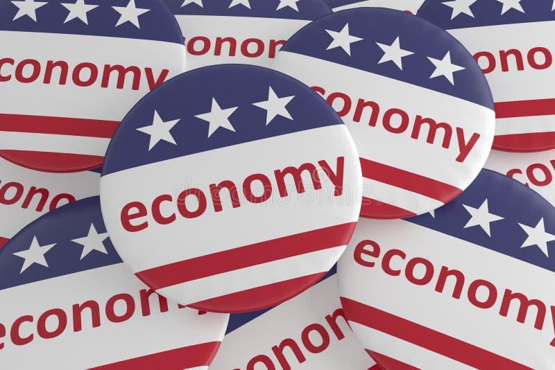 USA Politics News Badges: Pile of Economy Buttons With US Flag 3d illustration. USA Politics News Badges: Pile of Economy Buttons With US Flag, 3d illustration vector illustration
