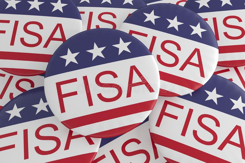 FISA Foreign Intelligence Surveillance Act Buttons With US Flag, 3d illustration. USA Politics News Badges: Pile of FISA Foreign Intelligence Surveillance Act vector illustration
