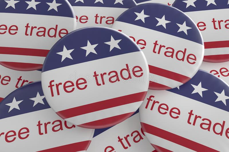 USA News Badges: Pile of Free Trade Buttons With US Flag 3d illustration. USA Politics News Badges: Pile of Free Trade Buttons With US Flag, 3d illustration royalty free illustration