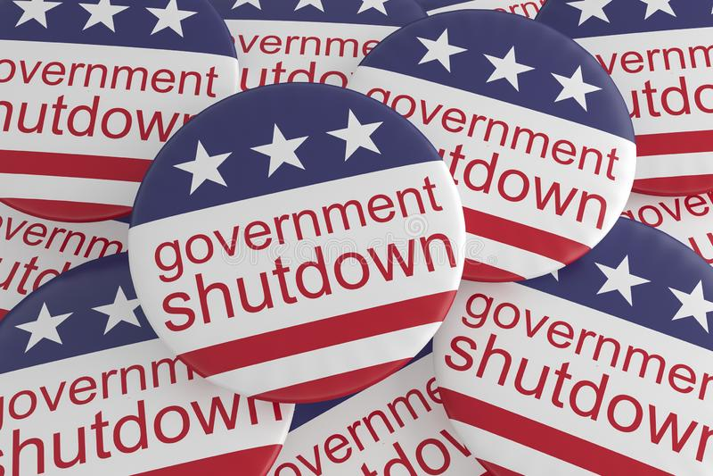 News Badges: Pile of Government Shutdown Buttons With US Flag 3d illustration. USA Politics News Badges: Pile of Government Shutdown Buttons With US Flag, 3d stock illustration